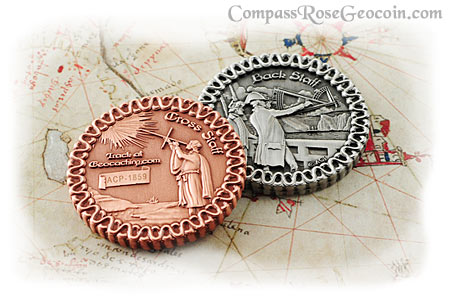 Cross Staff and Back Staff geocoin in both antique copper and antique silver