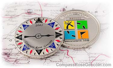 2005 Compass Rose Geocoin with backside