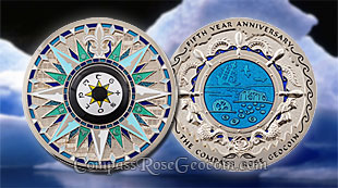 Antarctic Compass Rose 5th Anniversary Geocoin