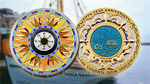 Mediterranean Compass Rose 5th Anniversary Geocoin