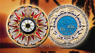 Spice Island Compass Rose 5th Anniversary Geocoin