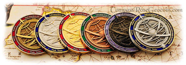 2009 Compass Rose Geocoin series backsides