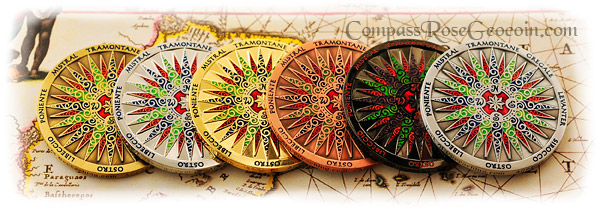 2006 Compass Rose Geocoin series front sides
