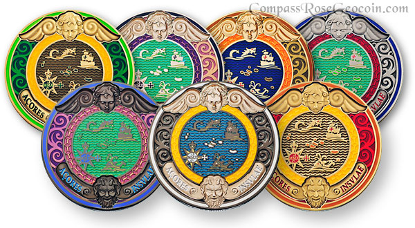 2010 Compass Rose Geocoin backs all versions