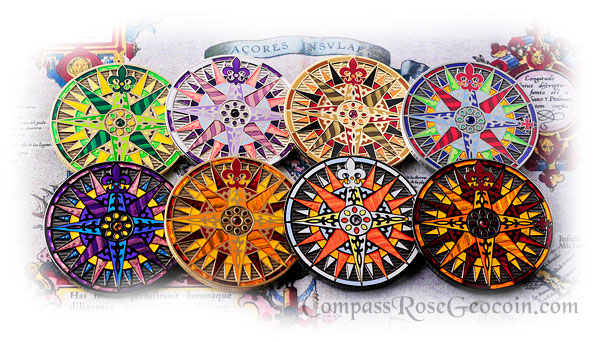 2010 Compass Rose Geocoin all versions