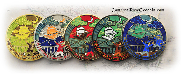 2012 Compass Rose Geocoin backs all versions