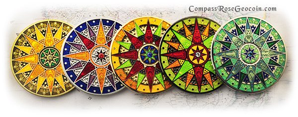 2012 Compass Rose Geocoin all versions