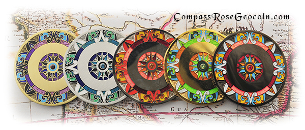2013 Compass Rose Geocoin backs all versions