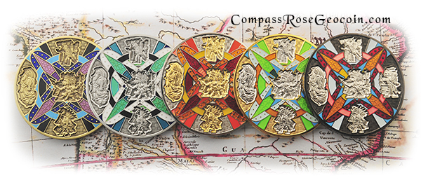 2013 Compass Rose Geocoin all versions