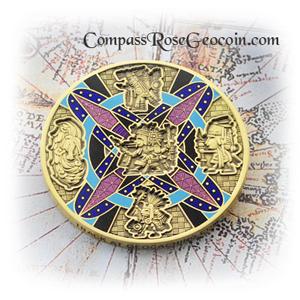 Compass Rose Geocoin 2013 Tezcatlipoca