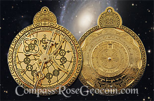 Limited Edition Polished Gold Cosmolabe Geocoin