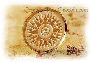 Earth Stone Crystal Compass Rose Geocoin