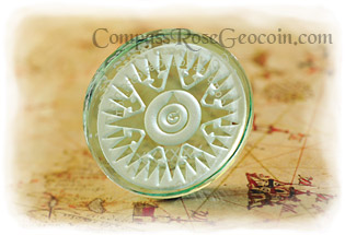 Amazon Forest Crystal Compass Rose Geocoin