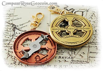 Mariner's Astrolabe coins in both antique copper and antique bronze