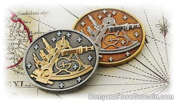 Sextant Geocoins - antique silver and antique bronze